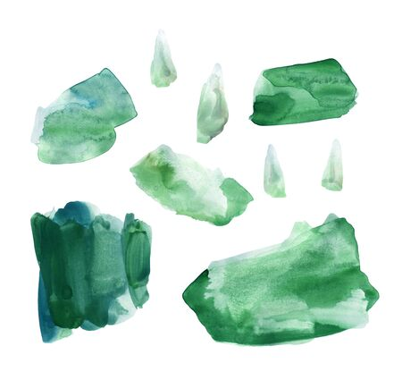 Set of fresh green hand drawn watercolor stains. Rich emerald color and the lush color of the grass after the rain. Delicate elegant texture. Can be used in interior posters or food packaging design 写真素材