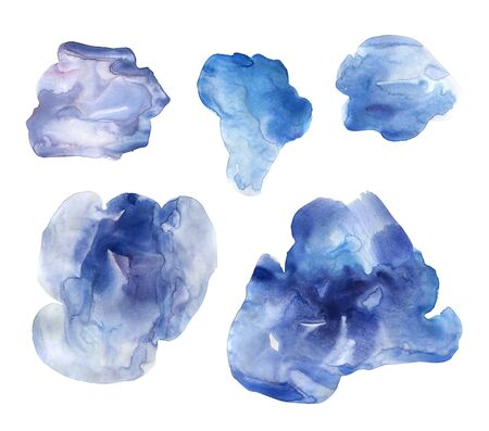 Set of blue hand drawn watercolor stains. Collection blue gloomy clouds of the after the rain. Delicate elegant ink texture. Can be used in interior posters or food packaging design