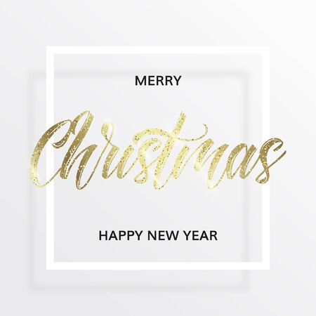 Gold lettering Christmas in the square frame with golden glitter. Merry christmas and happy new year wishes. White background. Minimal modern style.