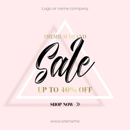 Advertising Sale banner of 40 percent discount on premium brands. Modern geometric pattern design with text on the triangle in the center. Chic design for your online store or site.  イラスト・ベクター素材