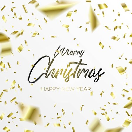 Black lettering Christmas and Falling Golden Confetti on white background. Merry christmas and happy new year wishes. Holiday design template for web banner, poster, cards or invitation.