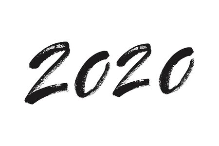 Happy New Year 2020 calligraphy. Ink lettering. Hand drawn calligraphy. Handwritten black numbers. Vector illustration.