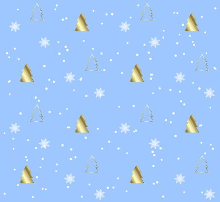 Seamless pattern with Christmas trees. Gold pattern on blue background. Festive texture. Holiday xmas design for wrapping gifts or creating a Christmas cards, banners, advertising.