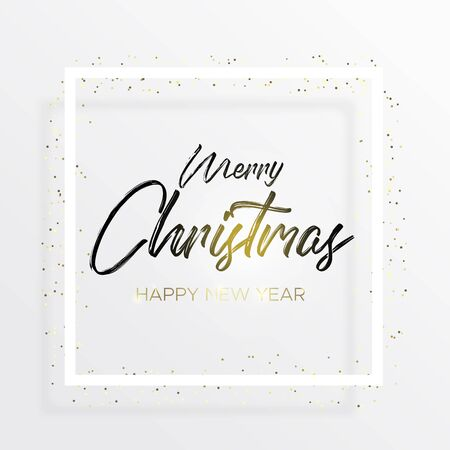 The black inscription Christmas and magic light on white background. Merry christmas and happy new year wishes. The handwritten inscription with a brush and white square frame with golden confetti. Ilustração