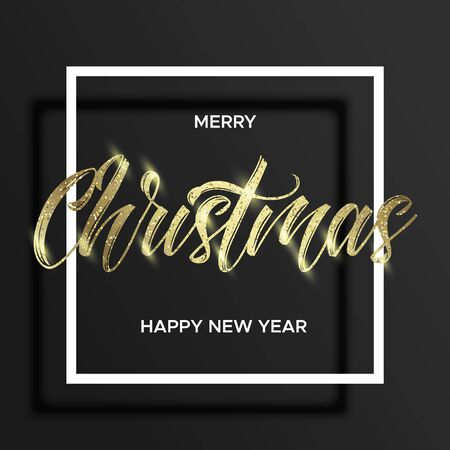 Gold lettering Christmas in the square frame with golden glitter. Merry christmas and happy new year wishes. Black background. Minimal modern style.