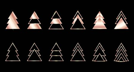 A set of rose gold geometric Christmas trees made of triangles. Contour gold. For Xmas and Happy new year. Vector illustration on black background. Glowing and shimmering gold.
