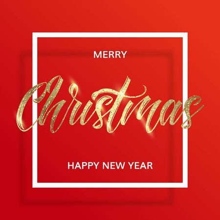 Golden text on red background in the square frame with golden glitter. Merry christmas and happy new year wishes. Minimal modern style.