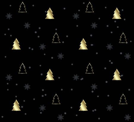 Seamless pattern with Christmas trees. Gold pattern on Black background. Festive texture. Holiday xmas design for wrapping gifts or creating a Christmas cards, banners, advertising.
