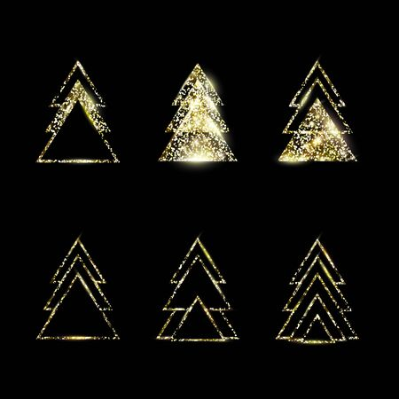 A set of gold geometric Christmas trees made of triangles. Golden Glitter. For Xmas and Happy new year. Vector illustration on black background. Glowing and shimmering golden confetti.