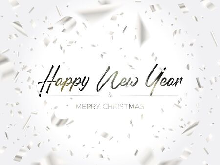 Black lettering Christmas and Falling Silver Confetti on white background. Merry christmas and happy new year wishes. Holiday design template for web banner, poster, cards or invitation.