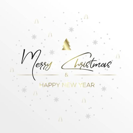 The black inscription Christmas and magic light on white background. Merry christmas and happy new year wishes. Christmas ornament in the circle of snowflakes and Christmas tree. Gray and gold colors.