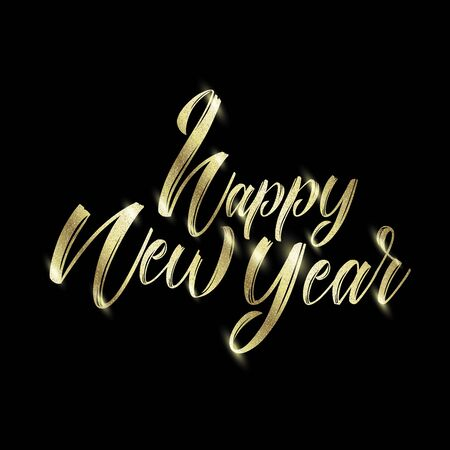 Golden text on black background. Happy New Year lettering for invitation and greeting card, prints or posters and banners. Handwritten inscription, calligraphic font. Vector.