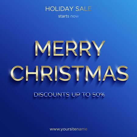 Christmas sale up to 50 percent. Blue banner. Shiny gold text with glitter. The square banner for advertising in social networks, on the website and search engines.  イラスト・ベクター素材