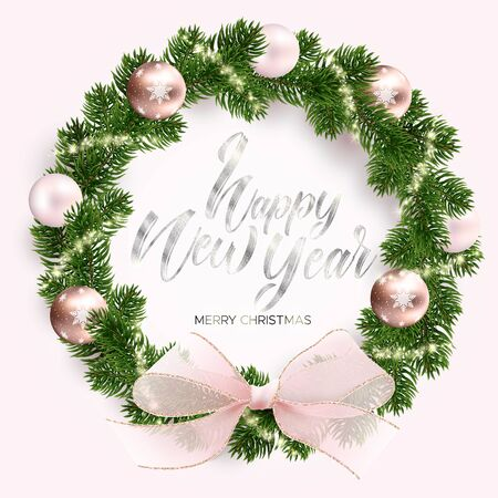Christmas wreath, rose gold balls, glowing sparks and a pink bow. Golden shining sparks. White background. Realistic Vector illustration. The silver text. Merry christmas and happy new year wishes. Ilustrace