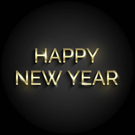 Golden shiny text on black background. Happy New Year congratulations for invitation and greeting card, prints or posters and banners. Vector. Ilustração