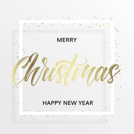 Gold lettering Christmas in the square frame with golden confetti. Merry christmas and happy new year wishes. White background. Minimal modern style.