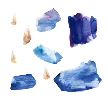 Set of hand drawn watercolor stains and blots. Blue, purple and brown colors. Juicy and bright colors. It can be used for wrap, wallpaper, website, pattern, decor, print.