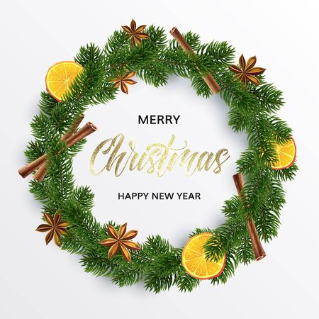 Christmas Wreath. Round organic garland of spices, orange and fir. Xmas decor. Vector illustration. The gold inscription on white background. Merry christmas and happy new year wishes.