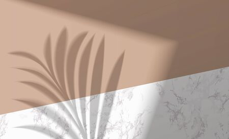 Mock up with shadow palm leaf on marble background. Layout with overlay a palm branch shadow. Natural lighting overlays shadow on top. Scene of shadows from the window the tropic leaf and window frame