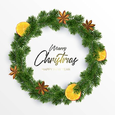 Christmas Wreath. Round organic garland of spices, orange and fir. Xmas decor. Vector illustration. The black inscription and magic light on white background. Merry christmas and happy new year wishes