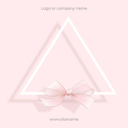 Pink empty ad banner. Geometric design, triangle with bow for Christmas and new year greetings. Square composition. Suitable for advertising, banners, quotes, greetings and cards. Pretty and cute.