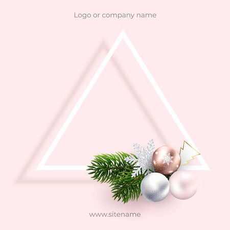 Pink blank postcard for Christmas and new year greetings. Square composition and Geometric design, triangle with bow. Wreath of xmas toys and branches. For ad, banners, quotes, greetings and cards Ilustração