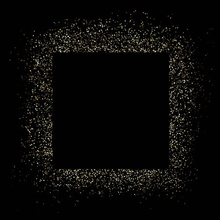 Golden square frame and glitter. Black background. Glowing particles texture around. Decoration with blank center for text. Box of golden powder, sparkles and light effects.