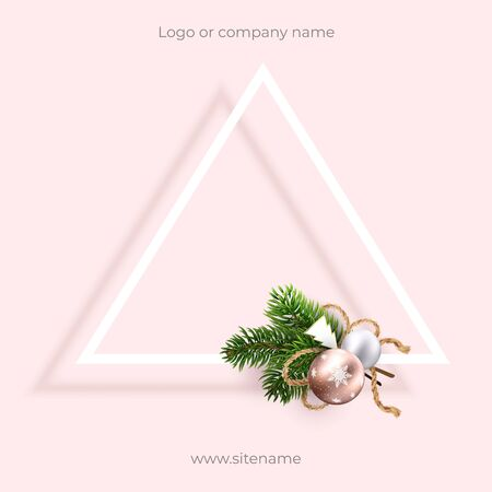 Pink blank postcard for Christmas and new year greetings. Square composition and Geometric design, triangle with bow. Wreath of xmas toys and branches. For ad, banners, greetings in social media
