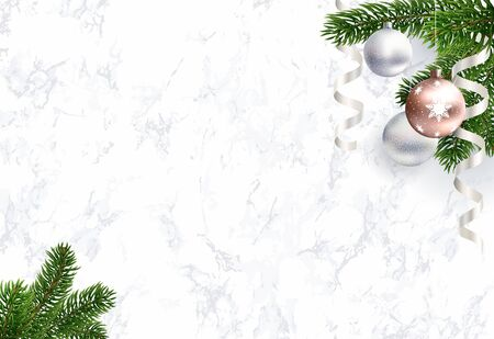Blank Christmas background for congratulations with white marble. Realistic illustration. Green branches of Christmas tree and rose gold balls. Empty middle. Vector. EPS10.