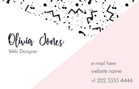 Modern business card template in the style of Memphis. Perfect combination of pattern and geometric shapes. A pattern of pastel pink zigzags and blush smudges or splatters of paint. Funky design. Ilustrace
