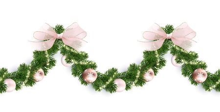 Seamless horizontal pattern. Christmas garland from a wreath. Toys, Christmas tree branches, bows and glowing sparks. Festive decoration for website, social networks, blog or your video channel.