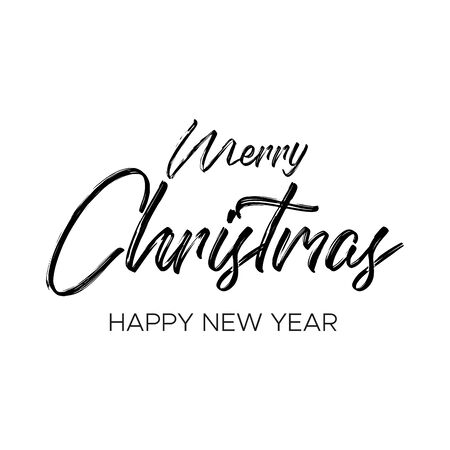 The black inscription Merry Christmas and happy new year on white background. Merry christmas and happy new year wishes. Festive lettering in a modern style