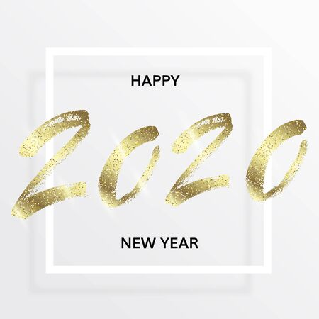 Happy New Year 2020 with golden glitter. Wishes with shining glittering dust for greeting card. Hand drawn calligraphy. Handwritten golden lettering with gold particles. Vector illustration.