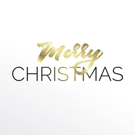Gold lettering Merry Christmas in the square composition with golden glitter. White background. Minimal modern style. Ilustrace