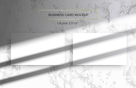 Two Business card Mockups in white marble background. Overlay of the shadows of natural lighting. Photorealistic 3d vector illustration. Scene shadows from the window. Business cards 3.5x2 inch. Ilustrace