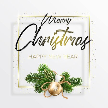 The black lettering Merry Christmas and wreath decoration from fir branches and golden ball on white background. Happy new year wishes. A square golden frame and golden dots around. Ilustrace
