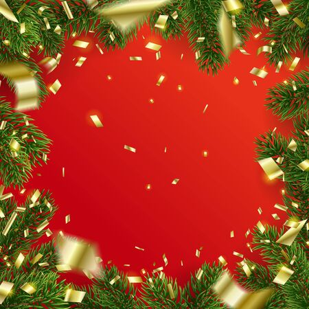 Vector christmas Frame of fir tree branches and Falling Golden Confetti. Red background. Design of empty center with copy space. Party backdrop. Holiday elements for web banner, poster or invitation.