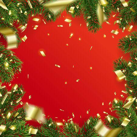 Vektorweihnachtsrahmen von Tannenbaumzweigen und von fallendem goldenem Konfetti. Roter Hintergrund. Design der leeren Mitte mit Kopienraum. Party-Kulisse. Urlaubselemente für Webbanner, Poster oder Einladungen.