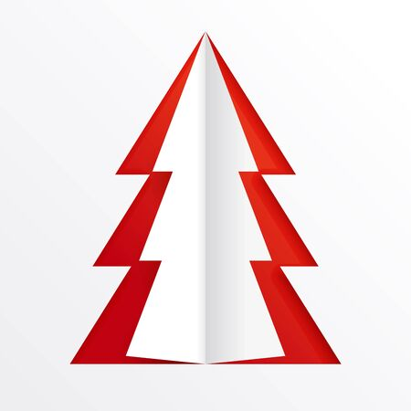 Cut from white paper Christmas tree on a red background. A hole in the paper in the shape of a fir tree. Christmas graphic element for design. Ilustrace