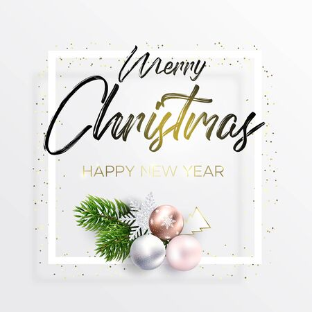 The black inscription Merry Christmas and wreath decoration from fir branches and balls on white background. Happy new year wishes. The ink lettering in the white square frame and golden confetti. Ilustrace