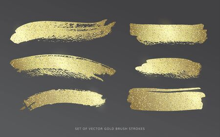 Set of vector gold brush strokes with glitter texture on top. Isolated shiny shapes. The graphics elements for design.