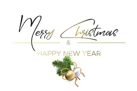 Design Christmas greeting card. The black lettering and magic light with decoration from fir branches and golden balls on white background. Merry christmas and happy new year wishes.