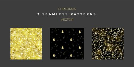 Set of three Christmas seamless textures. New year patterns for decorating covers, packaging, wrapping paper or designing banners and cards in social networks and printed products. Ilustrace
