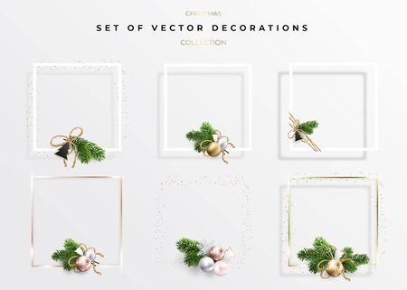Set of Christmas Frame border with copy space. Decorations of bouquets from fir branches and golden balls. For holiday greetings and wishes. A square golden frame and golden dots around. Ilustrace