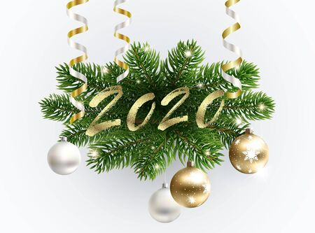Golden 2020 text on the fur-tree branches. Christmas wreath decoration with balls and serpentine. New year greeting.