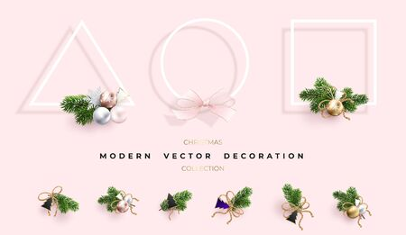 Set of modern Christmas decorations. Geometric shapes and xmas wreaths of Christmas tree branches and toys. New years collection.