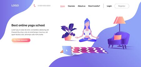 Online yoga school. Web template for landing page. The Illustration of a woman in the Lotus position floating in the air, meditating in front of a laptop screen. Banner for website or mobile app.