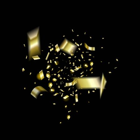 Explosion of gold confetti in the center on a black background. A pieces golden foil.