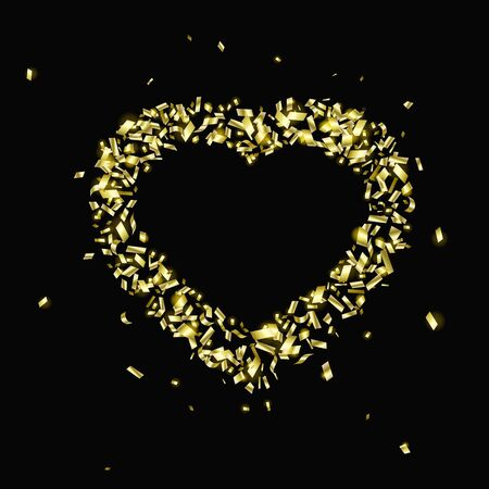 Gold pieces of foil in the shape of a heart with copy space on a black