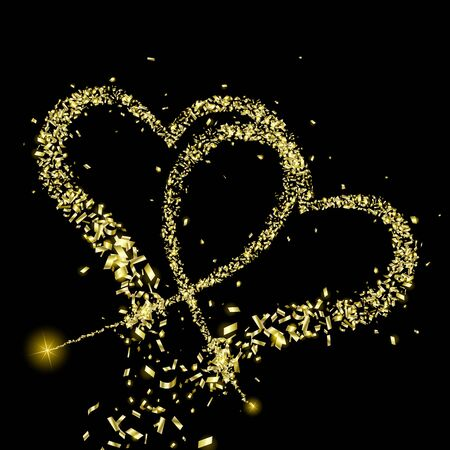Gold pieces of foil fly along the way in the shape of two hearts on a black